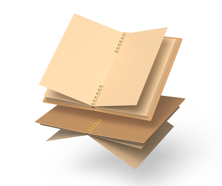 Open kraft paper notebooks mockup set floating in the air in 3d rendering, white background