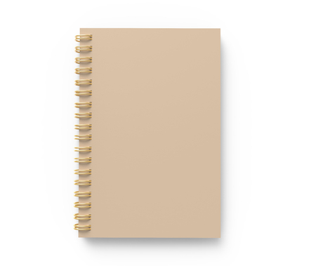 Blank cardboard notebook on white background in 3d rendering, top view