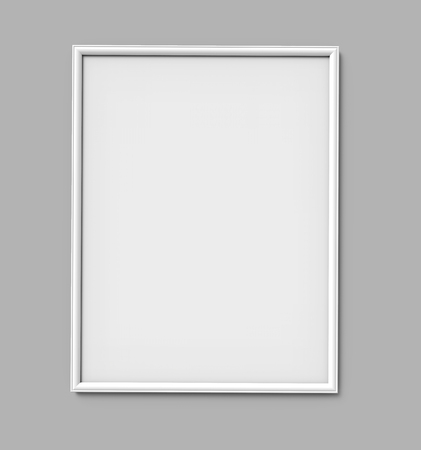 White photo frame with blank copy space hanging on grey wall in 3d rendering Stok Fotoğraf - 108767327