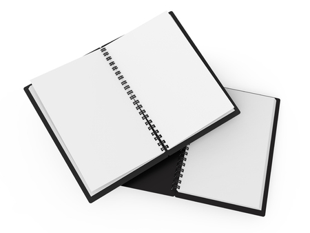 Spiral notebooks blank template in 3d rendering on white background, black hard cover open books