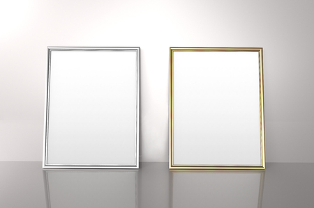 Glossy golden and silver color photo frames with blank copy space leaning on the wall in 3d rendering