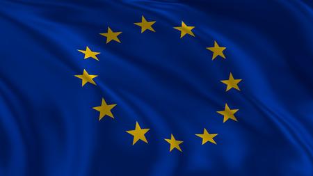 European union flag waving in the air in 3d rendering Imagens