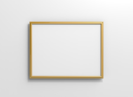 Matte gold color photo frame with blank copy space hanging on the wall in 3d rendering Stockfoto - 108767379