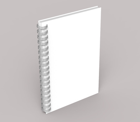 Blank notebook mockup on pale pinkish gray background in 3d rendering, stand book