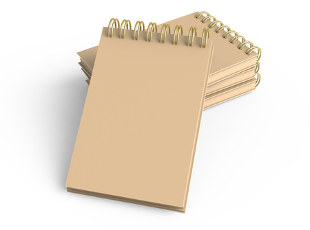Blank cardboard notepads pile on white background in 3d illustration, elevated view 写真素材
