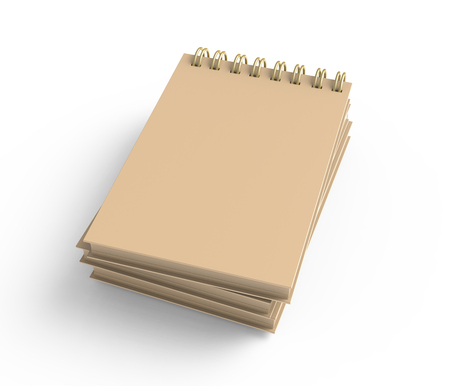 Pile of kraft paper hard cover books on white background in 3d rendering, elevated view 版權商用圖片 - 108767389