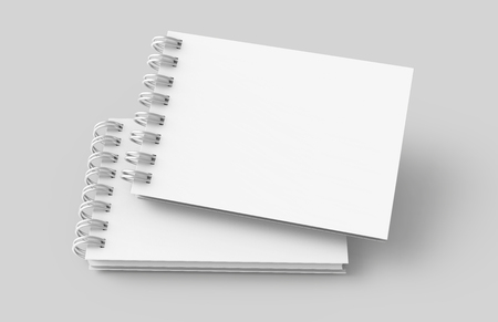 White hard cover notebooks in 3d rendering on light grey background, elevated view