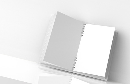 Open blank notebook on white background in 3d rendering