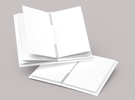 Blank paper notebooks mockup in 3d rendering on pale pinkish gray background, elevated view