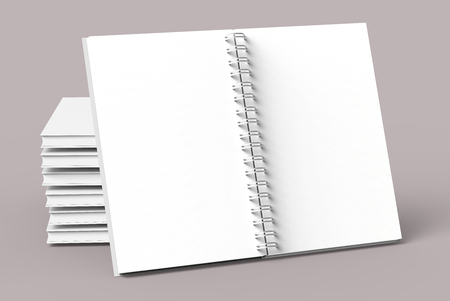 Blank notebooks mockup in 3d rendering on pale pinkish gray background, stack of books