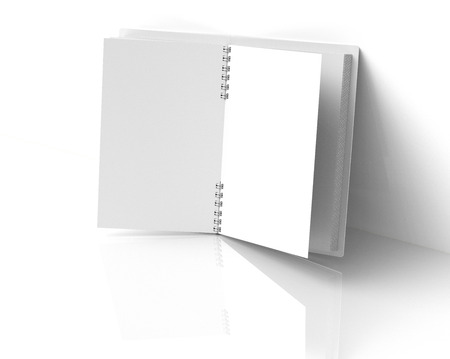 White hard cover open book lean on the wall in 3d rendering Banco de Imagens