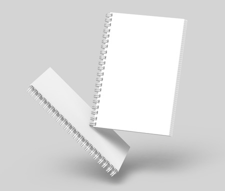 Float white hard cover notebooks in 3d rendering on light grey background Banco de Imagens