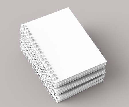 Pile of white hard cover open notebooks on pale pinkish gray background in 3d rendering, elevated view