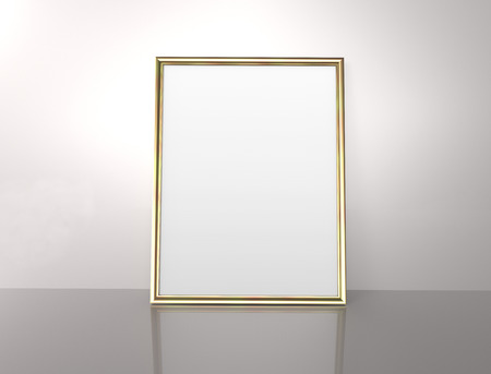 Glossy golden color photo frame with blank copy space leaning on the wall in 3d rendering