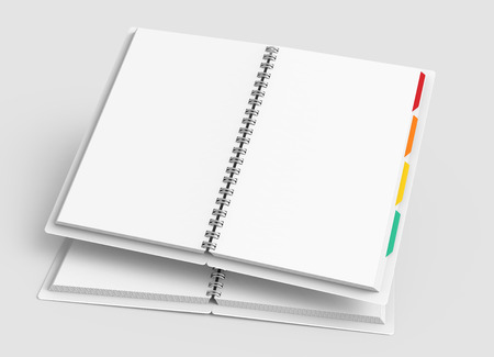 Open blank notebook with colorful tags on light gray background in 3d rendering