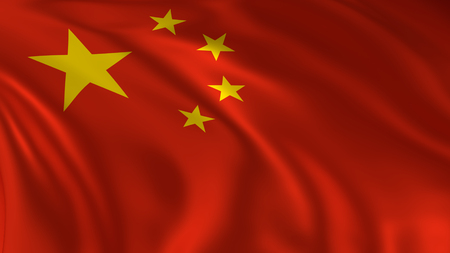 China flag waving in the air in 3d rendering