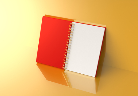 Red hard cover open book lean on the golden wall in 3d rendering Imagens