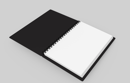 Black open hard cover book in 3d rendering on grey background, elevated view