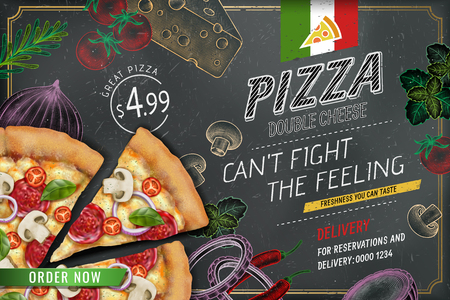 Annunci di pizza salata con pasta di condimenti ricchi di illustrazione 3d su priorità bassa di doodle di gesso stile inciso