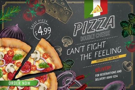 Anuncios de pizza sabrosa con masa de ingredientes ricos en ilustración 3d sobre fondo de doodle de tiza de estilo grabado