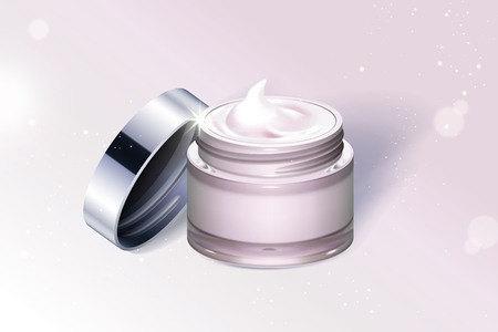 Light pink cream jar container isolated on glittering background in 3d illustration Ilustrace