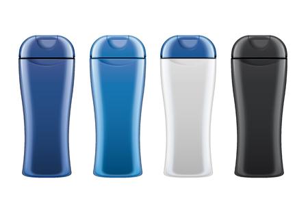 Blank skincare bottles set mockup on white background in 3d illustration
