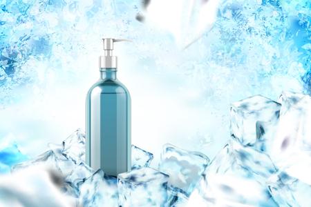 Kühlprodukt mit Minzblättern in der 3D-Illustration auf gefrorenem Hintergrund