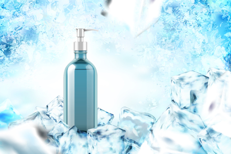 Cooling product with mint leaves in 3d illustration on frozen background