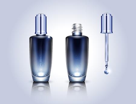 Blank droplet bottles mockup in 3d illustration