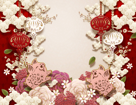 Blank Chinese new year background design with piggy, peony, and lanterns in paper art syle