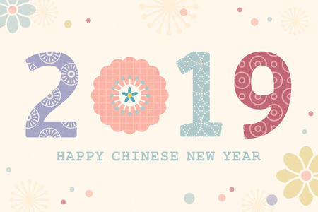 Lovely Happy Chinese New Year design with floral elements in flat design
