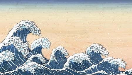 Les marées des vagues du Japon rétro dans le style Ukiyo-e