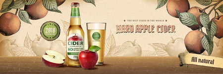 Hard apple cider ads in engraving style with realistic product and fruits in 3d illustration on orchard scene