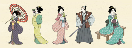 Japanese characters design in Ukiyo-e style, geisha and kabuki