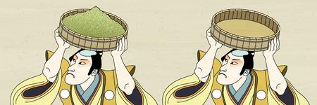 Homme Kabuki portant de la poudre de thé vert dans le style Ukiyo-e Vecteurs
