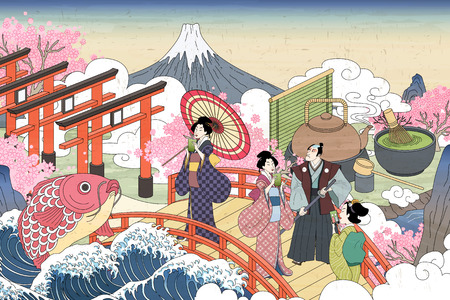 Retro Japan scenery in Ukiyo-e style, people carrying enjoying their green tea on the bridge