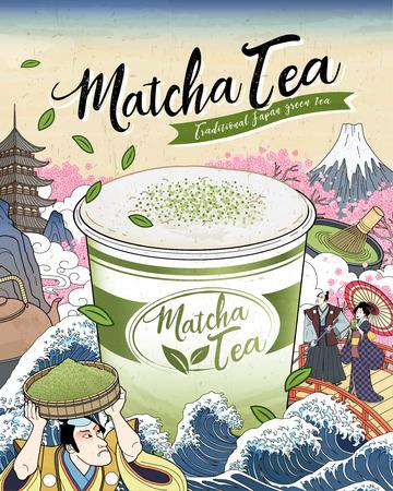 Annonces de thé Ukiyo-e Matcha avec une tasse à emporter géante flottant sur les marées de l'océan, art vintage japonais