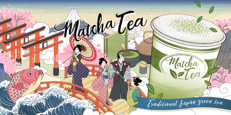 Ukiyo-e Matcha tea ads with giant takeaway cup on street, Japanese retro art style Illusztráció