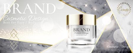 Tarro de crema cosmética en piedra de mármol y fondo blanco perla en ilustración 3d