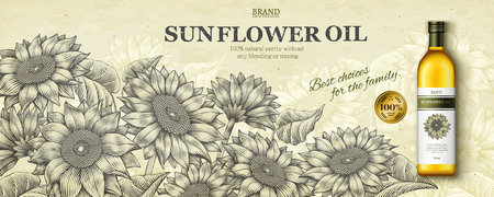 Sunflower oil ads in engraving style with realistic product in 3d illustration on floral garden scene Vectores