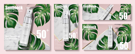 Sunblock spray banner ads with tropical leaves on marble stone and pink background in 3d illustration