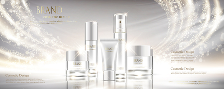Shiny pearl white cosmetic set in 3d illustration with different containers