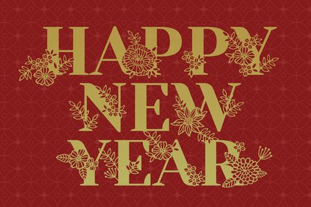 Happy new year poster design with golden characters and floral decorations