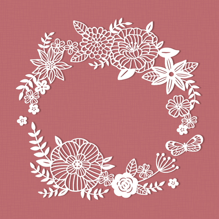 White paper cut flower wreath on pink background Illustration