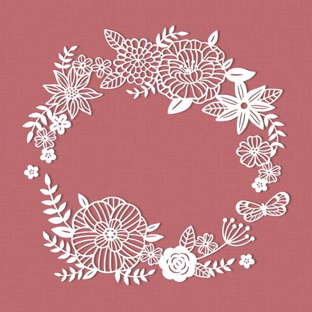 White paper cut flower wreath on pink background Ilustração