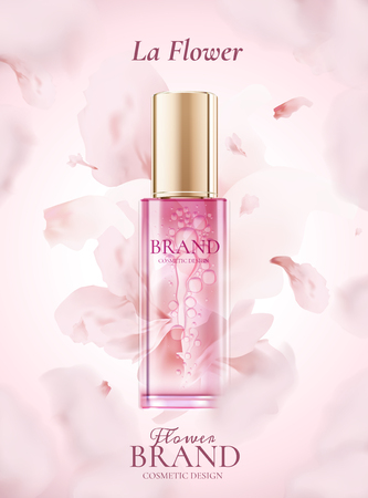 Skin care product ads with flying pink petals in 3d illustration Çizim