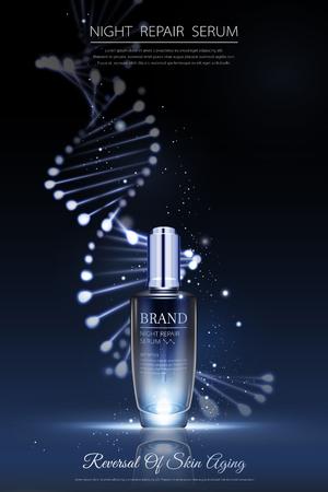 Nachtreparatur-Serum-Anzeigen mit Neon-Helix-Hintergrund in 3D-Darstellung
