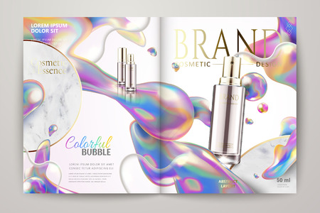Cosmetic spray on magazine brochure in 3d illustration with rainbow bubbles 일러스트