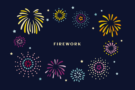 Beautiful fireworks in the night sky in flat design