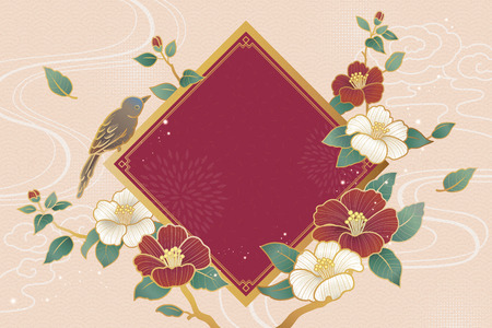 Elegant camellia and bird background with blank spring couplet Foto de archivo - 127631266